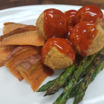BBQ Lentil Meatballs with Sweet Potato Wedges and Grilled Asparagus