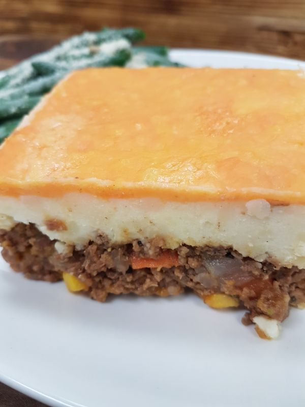 Beef Shepherds Pie served with Mashed Potato Topping and Roasted Green Beans