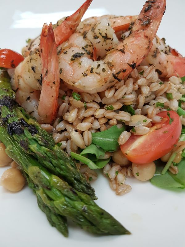 Farro Salad with Shrimp and Grilled Asparagus