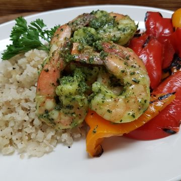 Grilled Pesto Shrimp served over Cauliflower Rice and Grilled Peppers