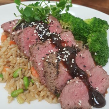 "Hoisin Top Sirloin Steak served with Rose's ""Fried"" Rice and Stir Fried Edamame"