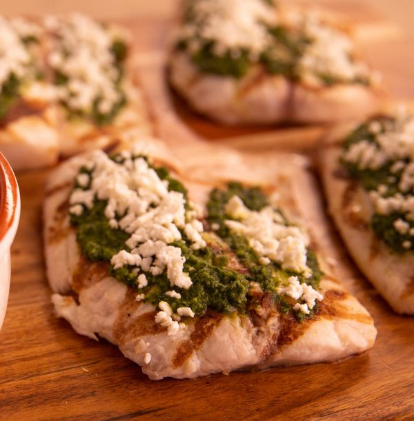 Grilled White Fish with Pesto