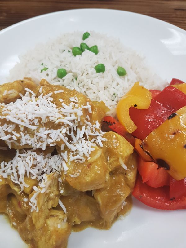 Coconut Curried Chicken served over Rice