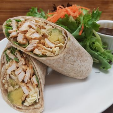 Baja Chicken Wrap with Avocado, Jack Cheese, Crispy Onions, Spinach with Chipotle Aioli, served with Mixed Green and Balsamic Vinaigrette